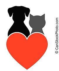 hjerte, hund, kat