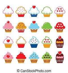 hjerte, iconerne, kirsebær, cupcake