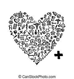 hjerte, iconerne, medicinsk, facon, konstruktion, din