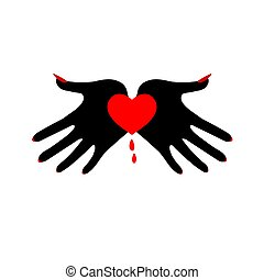 hjerte, image., palms., symbol, dæmoniske, sort, fatale, passion.