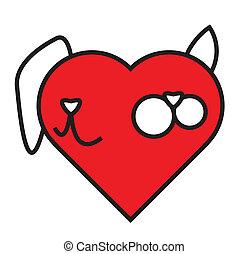 hjerte, komposition, hund, kat