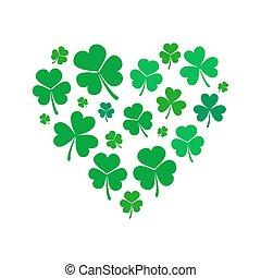 hjerte, lavede, iconerne, shamrock, vektor, lille, kløver, eller