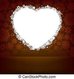 hjerte, lavede, snowflakes., eps, 8, hvid