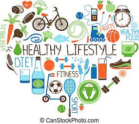 hjerte, lifestyle, diæt, tegn, duelighed, sunde