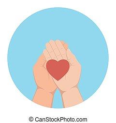 hjerte, liggende, håndflader