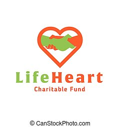 hjerte, liv, fond, hånd, hjælper, barmhjertige, logo