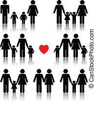 hjerte, liv, sæt, familie, sort rød, ikon