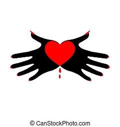 hjerte, passion., image., valentine's, symbol, isoleret, illustration, hånd, t-shirt, dæmoniske, dag, vektor, sort, palms., skabelon, hvid, stram, fatale, logo, design.