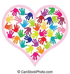 hjerte, printer, børn, hånd