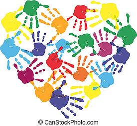 hjerte, printer, farverig, hånd, facon, barn