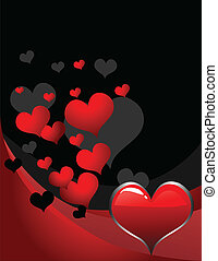 hjerte, retro, baggrund