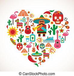 hjerte, sæt, constitutions, iconerne, mexico, -, vektor