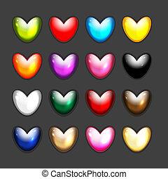 hjerte, sæt, iconerne, facon, konstruktion, din