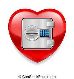 hjerte, skinnende, pengeskab, rød