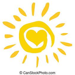 hjerte, sol, abstrakt