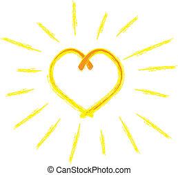 hjerte, solskin