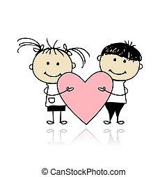 hjerte, stor, børn, valentine, day., konstruktion, din, rød