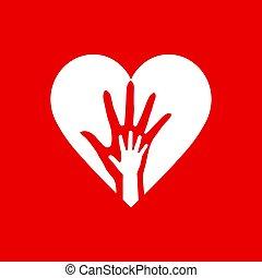 hjerte, to hænder