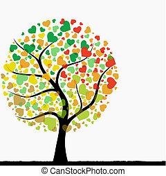 hjerte, træ, abstrakt