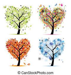 hjerte, træ, din, forår, årstider, winter., -, efterår, sommer, kunst, fire, konstruktion, facon