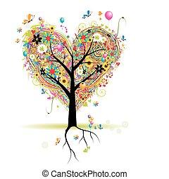 hjerte, træ, ferie, facon, balloner, glade