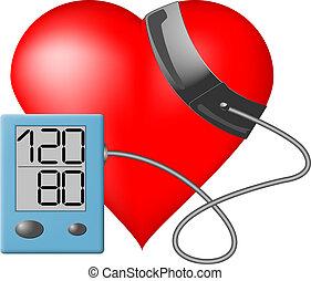 hjerte, tryk, -, dataskærm, blod