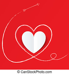 hjerte, valentines, day., avis, pil, hvid, path.