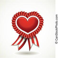 hjerte, vektor, bånd, rød, etikette