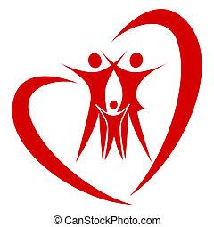 hjerte, vektor, familie