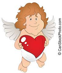 hjerte, vektor, henrivende, cupid