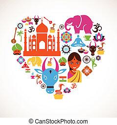 hjerte, vektor, indien, iconerne