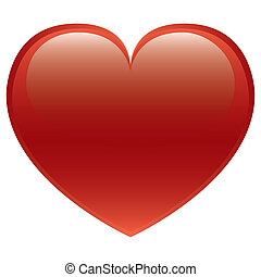 hjerte, vektor, rød