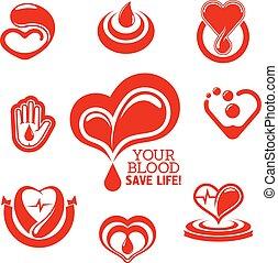 hjerter, hjælper, blod, nedgange, rød, hånd