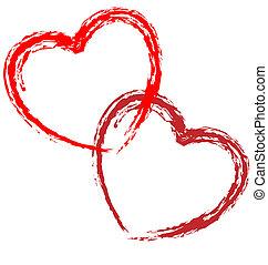hjerter, par, vektor, kunstneriske