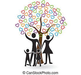hjerter, træ, familie, logo