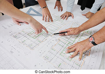 hold, arkitekter, site, konstruktion
