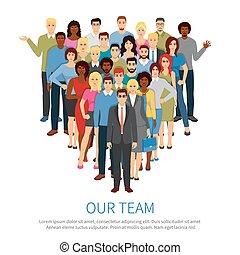 hold, folk, professionel, lejlighed, plakat, flok