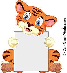 holde, cute, tiger, blank, cartoon, ja
