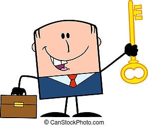 holde, forretningsmand, gylden, nøgle