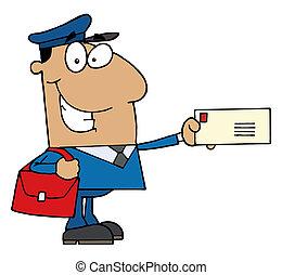 holde, latinamerikanskt mand, brev, post