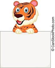 holde, tegn, cute, tiger, cartoon