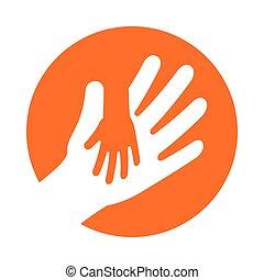 holde, voksen, hånd, barn