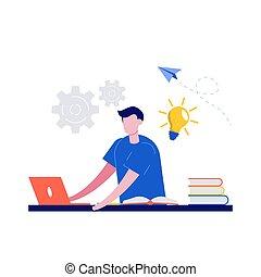 home., mandlig, afstand, kigge, begreb, kurser, tutorials, firmanavnet, illustration., væv, e-learning, online, education., moderne, lærdom, lejlighed, laptop., student