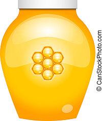 honning, vektor, illustration