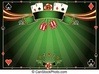 horisontale, kasino, grøn baggrund