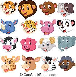 hovede sæt, samling, cartoon, dyr