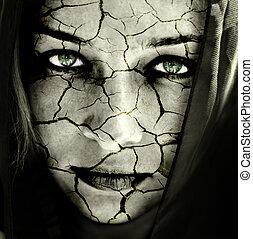 hud, halvtosset, ansigt kvinde