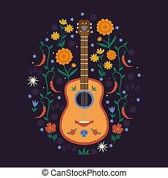 humøret, elements., komposition, graphics., dag, mexikansk, vektor, dead., blomstrede, guitar