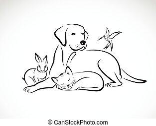 hund, gruppe, yndlinger, kat, -, fugl, isoleret, vektor, baggrund, politibetjent
