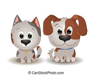 hund, liden, killingen, stor, det sidder, beige kat, vektor, prikket, smiles., øjne, cute, hundehvalp, cartoon, style.